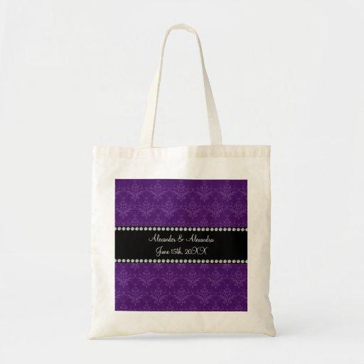 Wedding favors Purple damask Canvas Bags