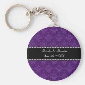 Wedding favors Purple damask Key Chain