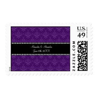 Wedding favors Purple damask Postage