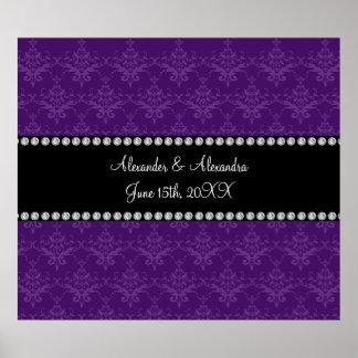 Wedding favors Purple damask Print