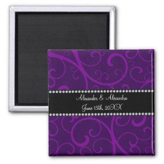 Wedding favors purple swirls 2 inch square magnet