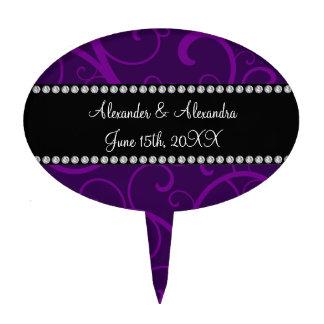 Wedding favors purple swirls cake picks