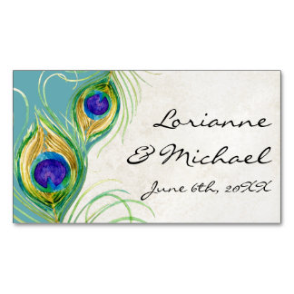 Wedding Favors Reception Pea Feathers Aqua Magnetic Business Card
