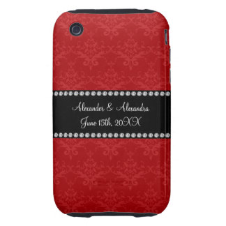 Wedding favors red damask tough iPhone 3 cases