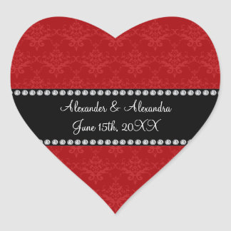 Wedding favors red damask heart sticker