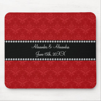 Wedding favors red damask mouse pad