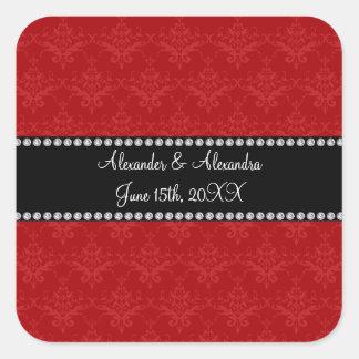 Wedding favors red damask square sticker