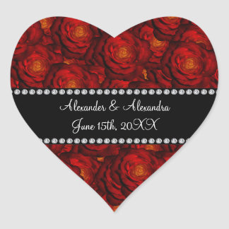 Wedding favors Red roses Heart Sticker