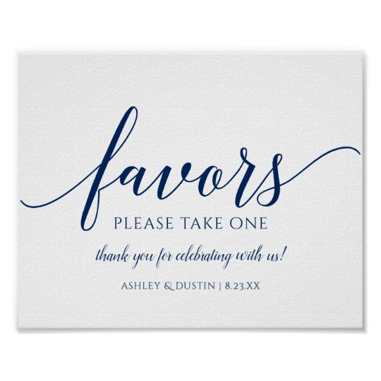 Wedding Favors Sign Please Take One Navy Blue Zazzle