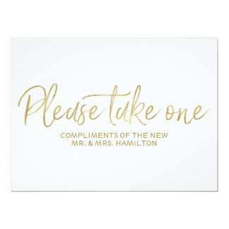 "Wedding Favors Sign Stylish Gold ""Please take one"" Card"
