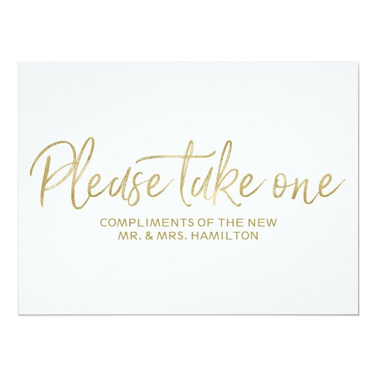 Wedding Favors Sign Stylish Gold Please Take One Card