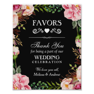 Wedding Favors Thank You Sign | Pink Floral Wreath