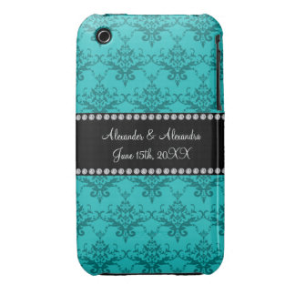 Wedding favors Turquoise damask iPhone 3 Cover