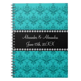 Wedding favors Turquoise damask Notebook