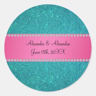 Wedding favors turquoise glitter classic round sticker