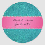 Wedding favors turquoise glitter classic round sticker