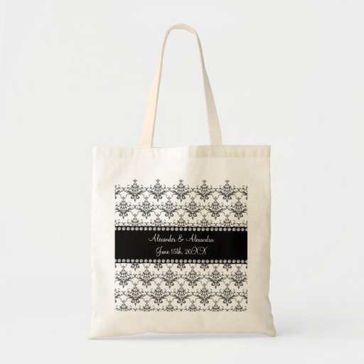 Wedding favors White damask Bag