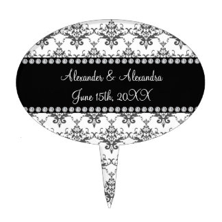 Wedding favors White damask Cake Topper