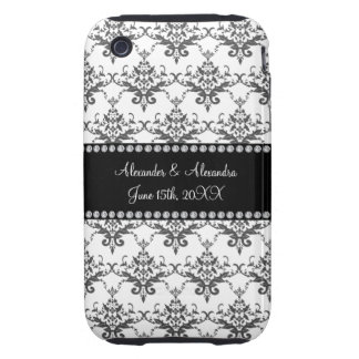 Wedding favors White damask iPhone 3 Tough Cases
