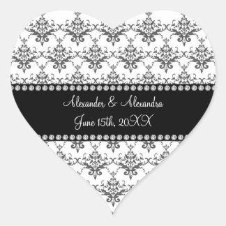 Wedding favors White damask Heart Sticker