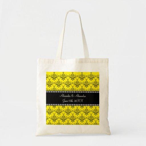 Wedding favors Yellow damask Tote Bag