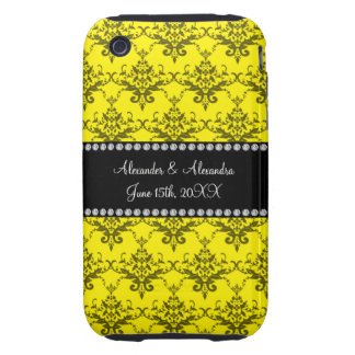 Wedding favors Yellow damask Tough iPhone 3 Covers