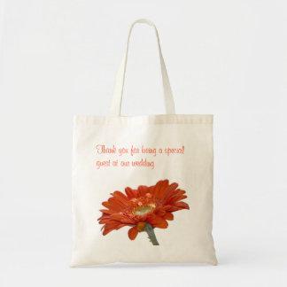 Wedding Favour Bag - Orange Daisy Gerbera Flower
