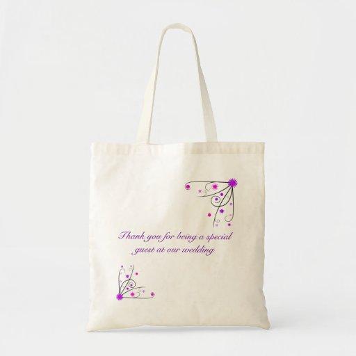 Wedding Favour Bag - Purple & Pink Flower Swirl