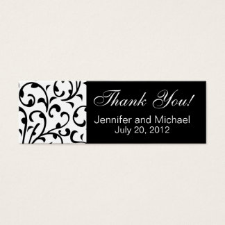 Wedding Favour Tag Black White Damask