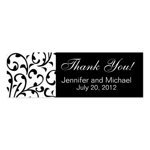 Wedding Favour Tag Black White Damask Business Card Templates