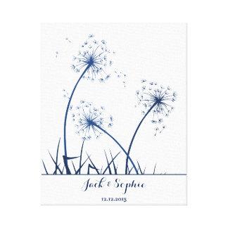 wedding fingerprint guest book dandelion navy