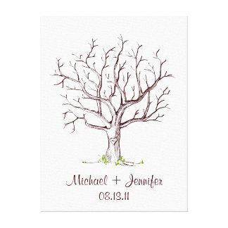 Wedding Fingerprint Tree (Brown) Canvas Print