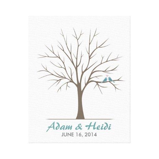 Wedding Fingerprint Tree – Classic Love Birds Stretched Canvas Print