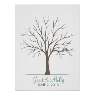 Wedding Fingerprint Tree – Classic Love Birds Poster
