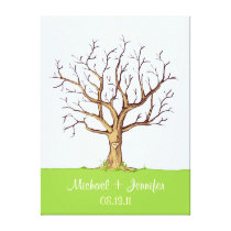Wedding Fingerprint Tree (Color) Canvas Print