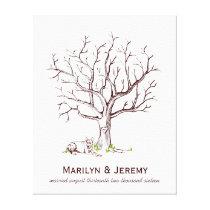 Wedding Fingerprint Tree (Dog) Canvas Print