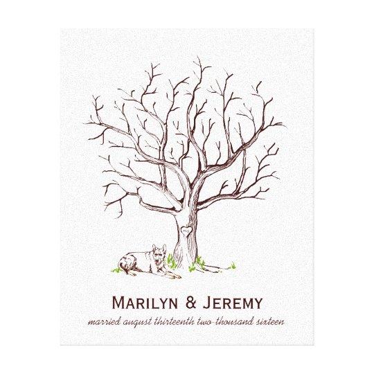 Wedding Guestbook Thumprint Tree Canvas A Great Wedding: Wedding Fingerprint Tree (Dog) Canvas Print