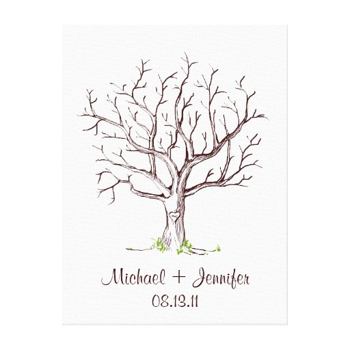 Wedding Fingerprint Tree Guestbook Stretched Canvas Prints