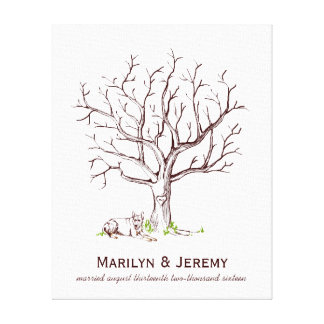 Wedding Fingerprint Tree Guestbook with Dog Canvas Print