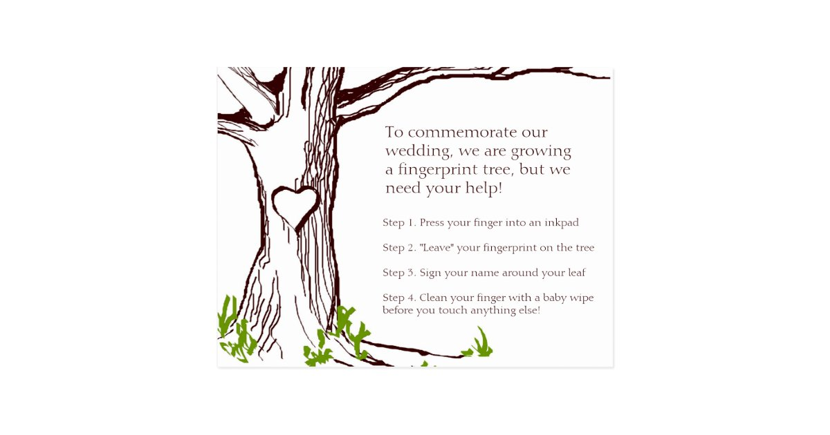 Wedding Fingerprint Tree Instruction Card | Zazzle.com
