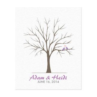 Wedding Fingerprint Tree – Love Birds - Purple Canvas Print