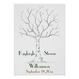 Wedding Fingerprint Tree Poster