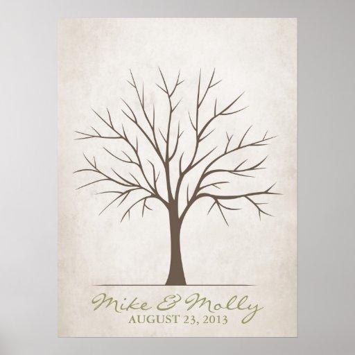 Wedding Fingerprint Tree – Rustic Posters | Zazzle