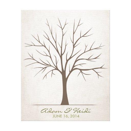 Wedding Fingerprint Tree – Rustic Gallery Wrapped Canvas