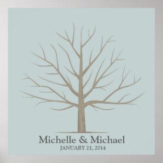Wedding Fingerprint Tree - Square Blue Poster