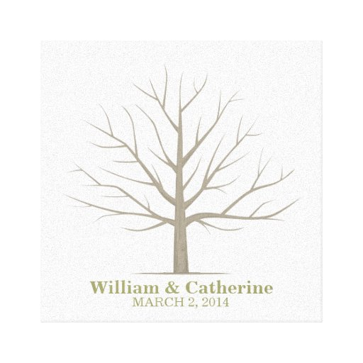 Extra Large Oak Thumbprint Guest Book Tree 26x20 Customized: Square Canvas Canvas Prints