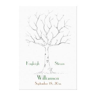 Wedding Fingerprint Tree Stretched Canvas Print