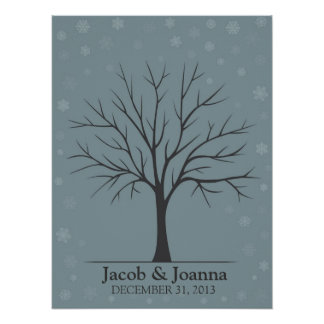 Wedding Fingerprint Tree – Winter Snow Poster