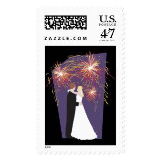 Wedding Fireworks Invitation RSVP Save The Date Postage Stamp