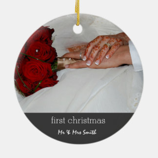 Wedding First Christmas Bride & Groom Photo Ceramic Ornament